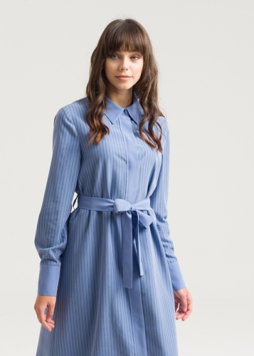 Striped Dress With Shirt Collar
