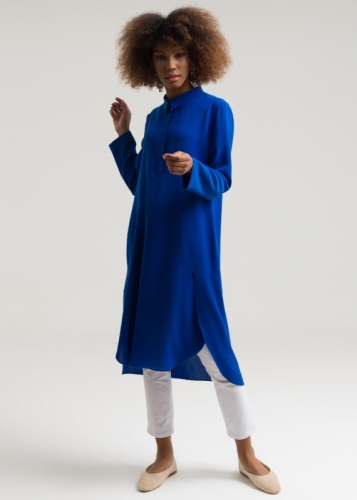 Asymmetrical Tunic  With A Shirt Collar
