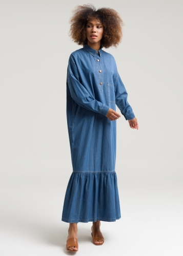 Jeans Dress With Low Sleeves