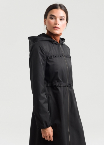 Detailed Trench Coat With Zipper And Ruffles