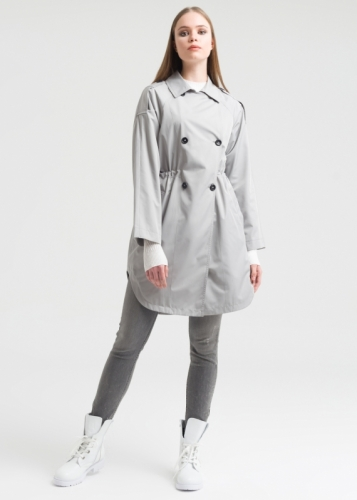 Trench Coat With Double Buttons And Riclan Sleeves