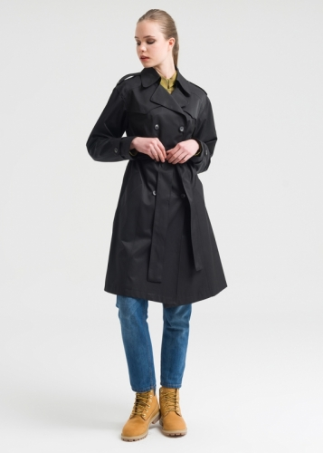 Trench Coat  With Double Buttons And Belt