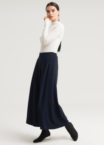 Double Pleated Plaid Trousers