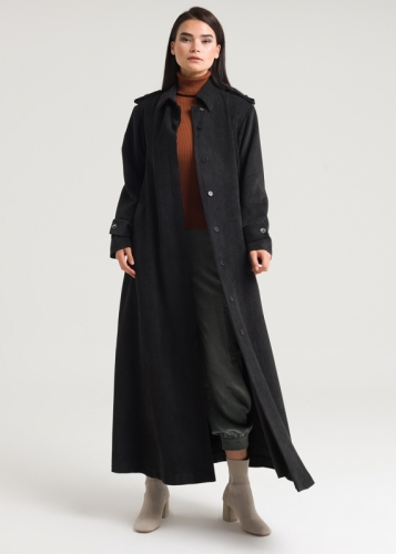 Velvet Overcoat With Binding Belt