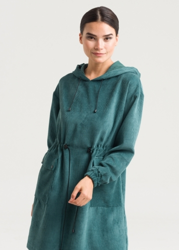 Ruched Velvet Tunic From Waist With Hat