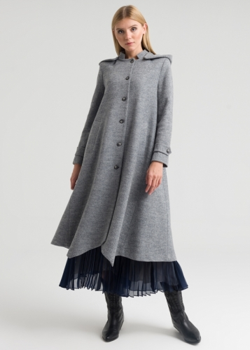 Asymmetric Felts Coat With Hat