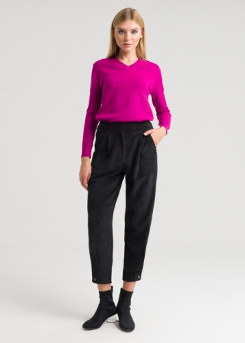 Detailed Velvet Trousers With Edge