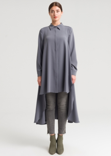 Asymmetric Tunic Closed With Buttons