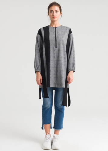 Piece Detailed Checked Tunic