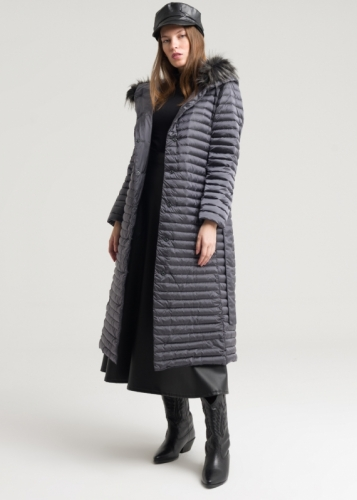Goose Down Coat With Fur Hat