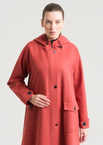 Coat With Hat And Reglan Sleeves