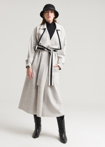 Detailed Coat With Ribbon And Belt