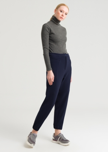 Knitted Trousers With Elasticated Tip And Pocket