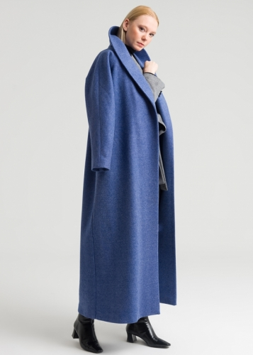 Coat With Wrap Collar Connecting With Coat