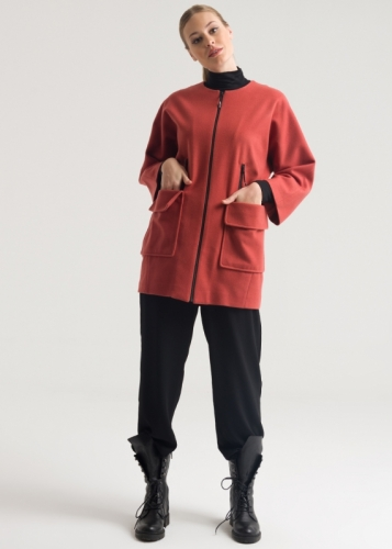 Short Oversize Coat With Pocket