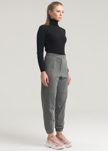 Elasticated Bottom Pants With Pocket