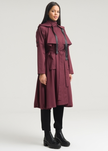 Comfortable Trench Coat With Hat