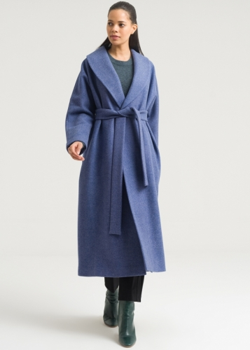 Belted Coat Wth Shawl Collar