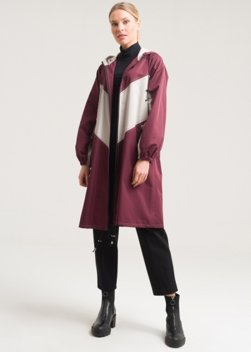 Double Color Closed With Zipper Trench Coat