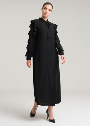 Jilbab With Frilled Sleeves And Collar