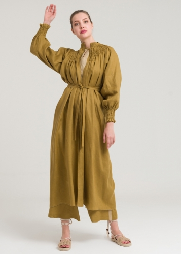 Linen Topcoat Wear-Exit With Reglan Arm