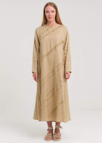 Linen Dress With Tassels