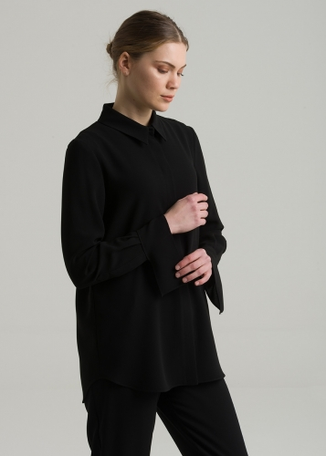 Man Collar  Arm Details Blouse
