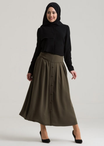 Pleated Button Details Skirt