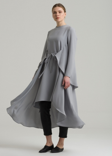 Lacing Belted  Asymmetric Tunic