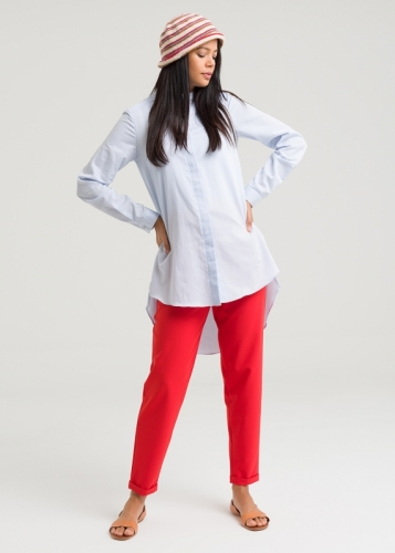 Collarless  Poplin Shirt Tunic