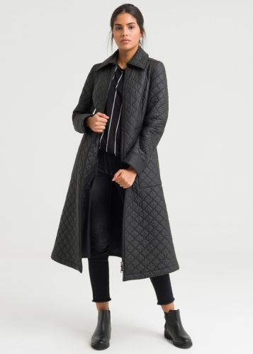 Zipper Closure Quilted Coat
