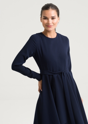 Belted Fabric Detail Dress