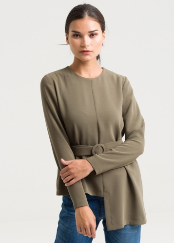 Buckle Belted Assymetric Blouse