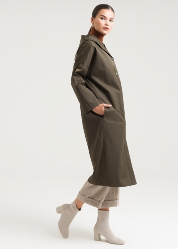 Low Sleeves Hooded Tranchcoat