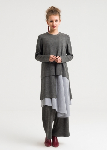 Asymmetric Knitwear Double Tunic