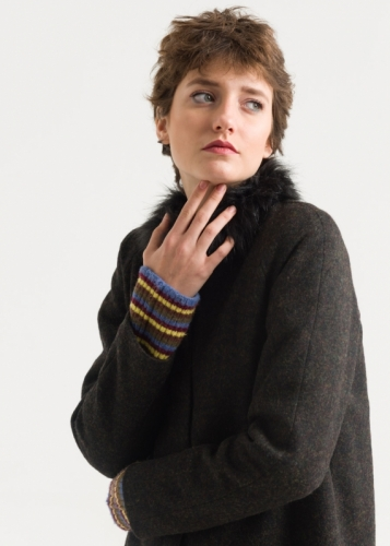 Wool coat with Riklan sleeves
