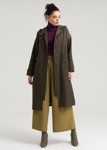 Low sleeves Zippered Tranchcoat