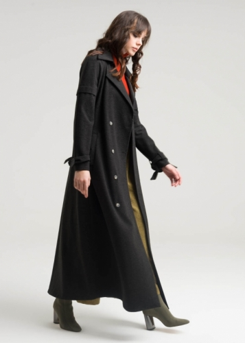 Coat With Double Buttons And Detailed Sleeves