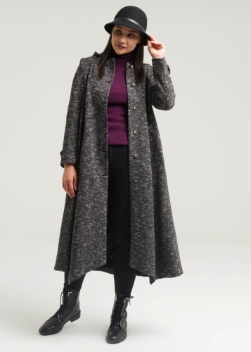 Coat  Asymmetric Split With Hat