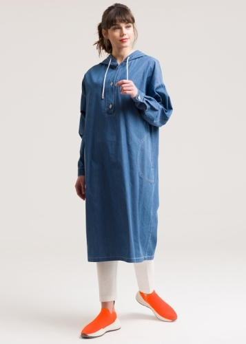 long  Comfortable Tunic Jeans With A Hat