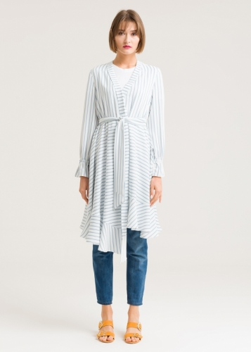 Striped Tunic With A V-Shaped Collar